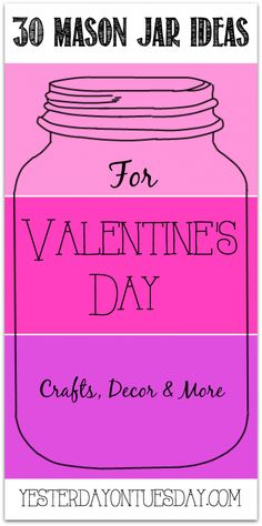30 Mason Jar Ideas for Valentine's Day including gifts, decor and more! Valentines Day Hearts, Valentine Day Love, Valentine Day Crafts, Valentine Ideas, Mason Jar Gifts, Mason Jar Diy, Pots, Mason Jar Projects, Valentines Day Decorations