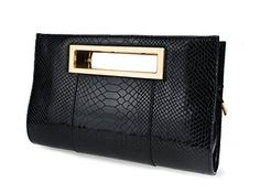 Hoxis Classic Crocodile Pattern Faux Patent Leather Metal Grip Cut it out Clutch with Shoulder Strap Womens Handbag(Black)