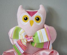 Pink Owl Lovey Blanket, Satin, Baby Blanket, Stuffed Animal, Baby Toy - Customize Color - Monogramming Available by bbsforbabies for $29.00