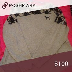 VS PINK PALM TREE CREW Vs pink grey Palm tree crew EUC. Size large. Trade only for other vs pink. Priced high for trades PINK Victoria's Secret Sweaters Crew & Scoop Necks