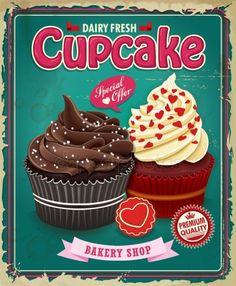 Cupcake Vintage, Fondant Cupcake Toppers, Cupcake Art, Vintage Tin Signs, Vintage Labels, Vintage Art, Decoupage Vintage, Decoupage Paper, Cupcake Kitchen Decor