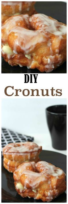 Easy Cronut Recipe: Soft, moist croissant style donuts topped with a sweet vanil. Easy Cronut Recipe: Soft, moist croissant style donuts topped with a sweet vanilla glaze. Donut Recipes, Cooking Recipes, Delicious Desserts, Yummy Food, Tasty, Bon Dessert, Baked Donuts, Donuts Donuts, Vanilla Glaze
