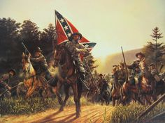 ACW Confederate: Follow the Colors!, by Dan Nance. General Nathan Bedford Forrest leads a Confederate charge.