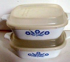 Set of Two Vintage Corning Corning Ware Petite Bake ware in Cornflower - Corning Ware, Corelle-12.00