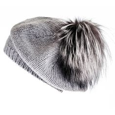 d60db5280d2 Black Silver Grey Cashmere and Fur Pom Pom Beret ( 145) ❤ liked on Polyvore