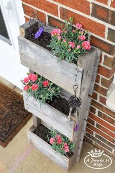 Wood Pallet Tiered Planter Box