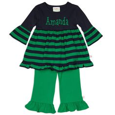 Girls Navy Green Stripe Pant Set – Lolly Wolly Doodle
