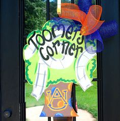 Auburn Football Door Hanger, Toomers Corner, Auburn Decor. $45.00, via Etsy.