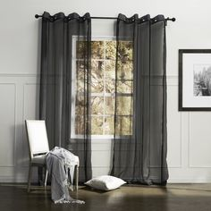 Country Elegant Black Solid Eco-friendly Sheer Curtain  #sheer #sheercurtain #custommade #curtains #homedecor