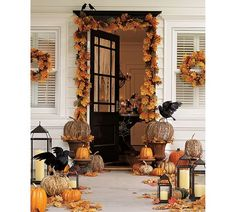 Decorative Pumpkins with Lights and Lanterns- My fronch porch idea for Halloween!