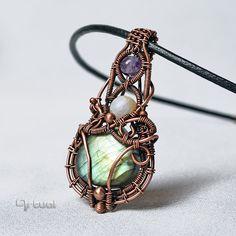 Wire wrapped green Labradorite pendant by artual.deviantart.com on @DeviantArt