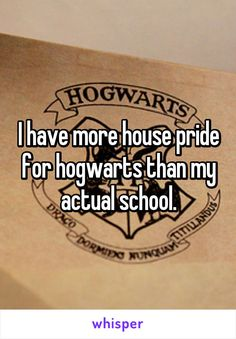 I have more house pride for hogwarts than my actual school.