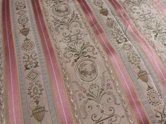 Antique French satin woven chinoiserie fabric w floral striped design HUGE piece, upholstery supply for textile sewing projects supplies by MyFrenchAntiqueShop on Etsy