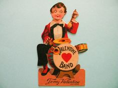 Vintage Valentine's Day Card Boy Playing Drum by SongbirdSalvation