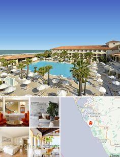 """O hotel balnear situa-se junto à praia de dunas """"Playa de la Barrosa"""" a cerca de 100 m de distância. O tempo de transfer do aeroporto de Jerez de la Frontera levará aproximadamente 45 minutos. Existe também um centro comercial com serviços médicos e farmácia a cerca de 400 m. Uma ligação à rede de transportes públicos é facilmente alcançável pé."""