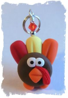 Polymer Clay Thanksgiving Turkey Charm by KalindsClayDesigns, $3.00