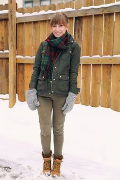 Army Green Winter Outfit | Kitty Cotten. Adorable winter outfit