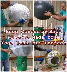 Concrete Ball Garden Planter Made from Yoga Ball DIY Project - The Homestead Sur. Concrete Ball Garden Planter Made from Yoga Ball DIY Project - The Homestead Survival - Homesteading Backyard Planters, Diy Concrete Planters, Concrete Garden, Diy Planters, Garden Globes, Concrete Sculpture, Concrete Crafts, Homestead Survival, Diy Projects