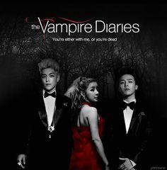 "princewon: "" "" AU meme: GDragon, T.P, Park Bom - The Vampire Diaries requested by heyhellohoney "" "" G Dragon, Gd And Top, 2ne1, Vampire Diaries, Bigbang, Fan Art, Kpop, Memes, Artist"