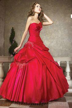 <b>Red</b> Sweetheart Ball <b>Gown</b> Handmade Embroidery Ruffles Perfect <b>Wedding</b> ...