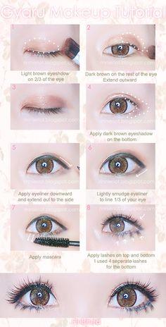 Gyaru eye makeup.