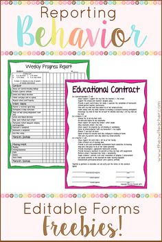 Teachers have many options of reporting classroom management and behaviors in this post with these ideas and free forms!