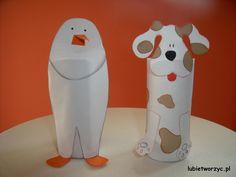 Pingwin i pies stworzone z rolki po papierze toaletowym :)  #pingwin #pingwinek #pies #piesek #rolkapopapierze #handmade #plastykawprzedszkolu #przedszkole #lubietworzyc #DIY #penguin #dog #toiletroll #artclassinpreschool #preschool #kindergarten #kidscraft #papercraft
