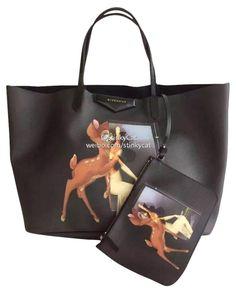 6c70f55331 Givenchy Large Bambi Print Antigona Shopping Black Leather Tote
