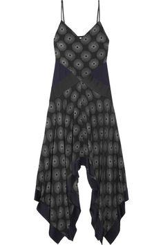 Diane von Furstenberg - Silk Satin-paneled Printed Crepe Midi Dress - Black - US10