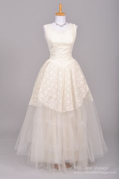 1950's Lace and Tulle Vintage Wedding Gown : Mill Crest Vintage