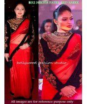 South Indian Actress Nikesha Patel In Red Net Saree Black Saree, Red Saree, Bollywood Saree, Bollywood Actress, Latest Salwar Kameez Designs, Ethnic Trends, Nikesha Patel, Net Blouses, Ethnic Wear Designer