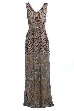Eva Mocha Beaded Maxi Flapper Dress c1a9d9fd211e