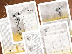 Whimsical Dandelion Designer Printable Planner by CorissaNelsonArt, $10.00