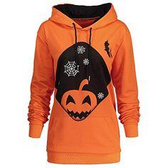 0a1866f43f4 Alalaso Women Hooded Halloween Pumpkin Pocket Drawstring Printed Hoodie  Sweatshirt Tops (Orange