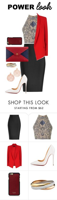 """""""business dinner"""" by zagojhe ❤ liked on Polyvore featuring Roland Mouret, TFNC, ESCADA, Christian Louboutin, Chanel, Vianel and Bronzallure"""