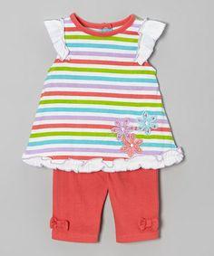 Look at this #zulilyfind! Coral Stripe Flower Tunic & Pants - Infant by Weeplay Kids #zulilyfinds
