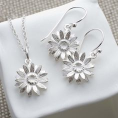 Sterling Silver Daisy Jewellery Set by Martha Jackson Sterling Silver, the perfect gift for Explore more unique gifts in our curated marketplace. Daisy Jewellery, Silver Jewellery, Daisy Necklace, The Fresh, Earring Set, Sterling Silver Jewelry, Fashion Jewelry, Jewelry Design, Bling