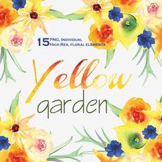 Watercolor flowers clipart. Yellow Garden by BlueTulipStudio