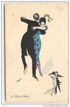 """""""Le Double Boston"""" ~ Vintage French dance postcard by Xavier Sager, ca. late 1910s"""