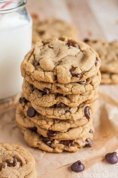 brown butter chocolate chip cookies: delicious, perfect, unique chocolate chip cookie recipe. turned out PERFECT, exactly as described. nice, thick, chewy, delicious cookie.