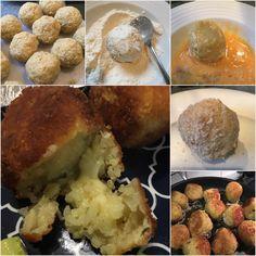 Risotto balls Risotto Balls, Arancini, Mozzarella, Baking Recipes, Mashed Potatoes, Vegetarian Recipes, Organic, Meals, Cooking