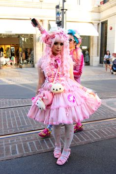 Model: AlienDoll. Japanese street fashion. Kawaii inspired accessories, pink and white with tutu.