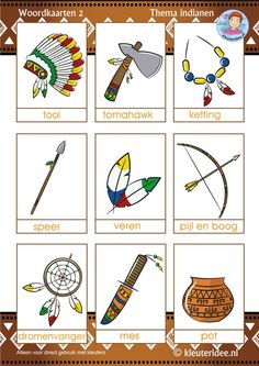 Woordkaarten voor kleuters 2, thema indianen, kleuteridee, free printable Indian Diy, Indian Crafts, Native American Crafts, Native American Indians, Native Americans, Indian Party Themes, Indigenous Education, Learn Dutch, Dutch Language