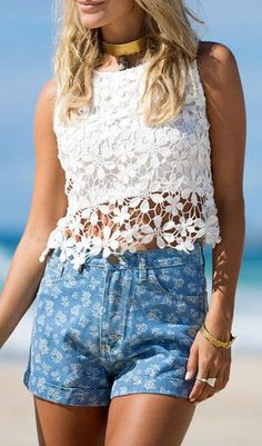 Floral Crochet Tank - White - See Through Crochet