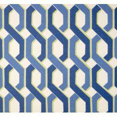 Chain Lattice in Blue Outdoor Fabric PO1082