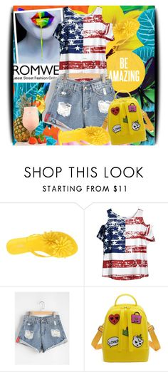"""""""Ripped Rolled Hem Denim Shorts"""" by amerlinakasumovic ❤ liked on Polyvore featuring Melissa"""