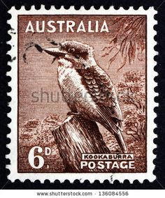 AUSTRALIA - CIRCA A used postage stamp from Australia, depicting an illustration of a Kookaburra, circa , Rare Stamps, Old Stamps, Vintage Stamps, Postage Stamp Design, Australian Birds, Australian Party, Bird Poster, Stamp Printing, Mail Art