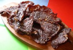 Beef Jerky - flank steak, soy sauce, liquid smoke, garlic powder, black pepper, red pepper flakes, brown sugar (sub another sweetener or omit)