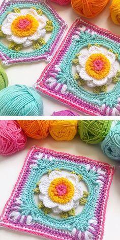 Crochet Flower Squares, Crochet Squares Afghan, Crochet Blocks, Granny Square Crochet Pattern, Crochet Flower Patterns, Afghan Crochet Patterns, Crochet Motif, Crochet Designs, Crochet Flowers
