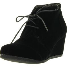 Forever Link Womens Patricia-01 Lace Up Faux Suede Ankle Wedge Booties ($28) ❤ liked on Polyvore featuring shoes, boots, ankle booties, black, black booties, black ankle booties, black wedge booties, lace up flats and lace up wedge ankle booties